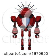 Robot Containing Oval Wide Head And Red Horizontal Visor And Techno Halo Ornament And Heavy Upper Chest And Blue Shield Defense Design And Ultralight Foot Exosuit Dark Red Front View