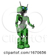Droid Containing Dual Retro Camera Head And Cyborg Antenna Head And Light Chest Exoshielding And Ultralight Chest Exosuit And Prototype Exoplate Legs Secondary Green Halftone Facing Left View