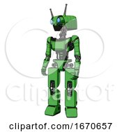 Droid Containing Dual Retro Camera Head And Cyborg Antenna Head And Light Chest Exoshielding And Ultralight Chest Exosuit And Prototype Exoplate Legs Secondary Green Halftone