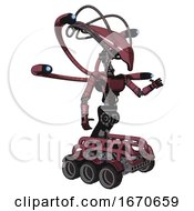 Cyborg Containing Flat Elongated Skull Head And Cables And Light Chest Exoshielding And Ultralight Chest Exosuit And Blue Eye Cam Cable Tentacles And Six Wheeler Base Muavewood Halftone Interacting