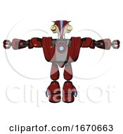 Robot Containing Bird Skull Head And Big Yellow Eyes And Head Shield Design And Heavy Upper Chest And Heavy Mech Chest And Blue Energy Fission Element Chest And Light Leg Exoshielding Matted Red