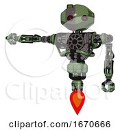 Cyborg Containing Oval Wide Head And Small Red Led Eyes And Green Led Ornament And Heavy Upper Chest And No Chest Plating And Jet Propulsion Grass Green Arm Out Holding Invisible Object