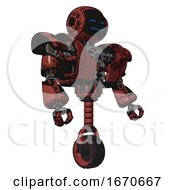 Mech Containing Digital Display Head And Sleeping Face And Heavy Upper Chest And Heavy Mech Chest And Unicycle Wheel Grunge Matted Orange Facing Left View