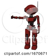 Robot Containing Oval Wide Head And Small Red Led Eyes And Retro Antenna With Light And Light Chest Exoshielding And Ultralight Chest Exosuit And Prototype Exoplate Legs Matted Red