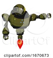 Mech Containing Oval Wide Head And Sunshine Patch Eye And Heavy Upper Chest And Triangle Of Blue Leds And Jet Propulsion Army Green Halftone Pointing Left Or Pushing A Button