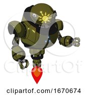 Mech Containing Oval Wide Head And Sunshine Patch Eye And Heavy Upper Chest And Triangle Of Blue Leds And Jet Propulsion Army Green Halftone Fight Or Defense Pose