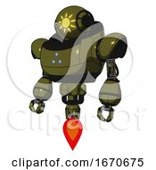 Mech Containing Oval Wide Head And Sunshine Patch Eye And Heavy Upper Chest And Triangle Of Blue Leds And Jet Propulsion Army Green Halftone Standing Looking Right Restful Pose