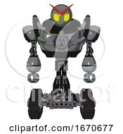 Android Containing Grey Alien Style Head And Yellow Eyes And Heavy Upper Chest And Chest Energy Gun And Tank Tracks Patent Concrete Gray Metal Front View