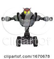 Android Containing Grey Alien Style Head And Yellow Eyes And Heavy Upper Chest And Chest Energy Gun And Tank Tracks Patent Concrete Gray Metal T Pose