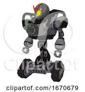 Android Containing Grey Alien Style Head And Yellow Eyes And Heavy Upper Chest And Chest Energy Gun And Tank Tracks Patent Concrete Gray Metal Standing Looking Right Restful Pose