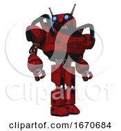 Automaton Containing Dual Retro Camera Head And Cyborg Antenna Head And Heavy Upper Chest And Blue Strip Lights And Prototype Exoplate Legs Red Blood Grunge Material Hero Pose