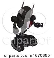 Cyborg Containing Round Head And Head Winglets And Heavy Upper Chest And Red Shield Defense Design And Tank Tracks Clean Black Fight Or Defense Pose
