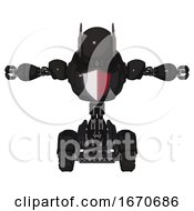 Cyborg Containing Round Head And Head Winglets And Heavy Upper Chest And Red Shield Defense Design And Tank Tracks Clean Black T Pose