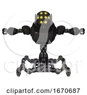 Droid Containing Round Head And Yellow Eyes Array And Heavy Upper Chest And Insect Walker Legs Dirty Black T Pose