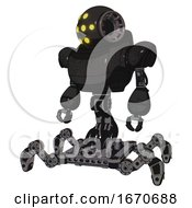 Droid Containing Round Head And Yellow Eyes Array And Heavy Upper Chest And Insect Walker Legs Dirty Black Standing Looking Right Restful Pose