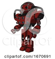 Mech Containing Oval Wide Head And Barbed Wire Cage Helmet And Heavy Upper Chest And Chest Energy Sockets And Prototype Exoplate Legs Matted Red Facing Right View