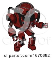 Mech Containing Oval Wide Head And Barbed Wire Cage Helmet And Heavy Upper Chest And Chest Energy Sockets And Prototype Exoplate Legs Matted Red Fight Or Defense Pose