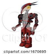 Automaton Containing Bird Skull Head And Brass Steampunk Eyes And Head Shield Design And Heavy Upper Chest And No Chest Plating And Prototype Exoplate Legs Cherry Tomato Red Facing Right View