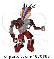 Poster, Art Print Of Automaton Containing Bird Skull Head And Brass Steampunk Eyes And Head Shield Design And Heavy Upper Chest And No Chest Plating And Prototype Exoplate Legs Cherry Tomato Red Fight Or Defense Pose