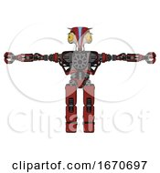 Poster, Art Print Of Automaton Containing Bird Skull Head And Brass Steampunk Eyes And Head Shield Design And Heavy Upper Chest And No Chest Plating And Prototype Exoplate Legs Cherry Tomato Red T-Pose