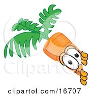 Clipart Picture Of An Orange Carrot Mascot Cartoon Character Sneakily Peeking Around A Corner