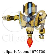 Bot Containing Round Head And Large Vertical Visor And Heavy Upper Chest And Heavy Mech Chest And Spectrum Fusion Core Chest And Jet Propulsion Construction Yellow Halftone