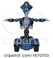 Bot Containing Flat Elongated Skull Head And Visor And Light Chest Exoshielding And Cable Sash And Rocket Pack And Tank Tracks Blue Halftone T Pose