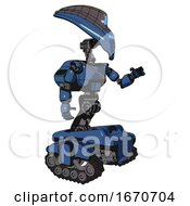 Bot Containing Flat Elongated Skull Head And Visor And Light Chest Exoshielding And Cable Sash And Rocket Pack And Tank Tracks Blue Halftone Interacting