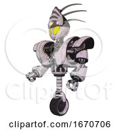Automaton Containing Grey Alien Style Head And Yellow Eyes And Eyeball Creature Crown And Heavy Upper Chest And Heavy Mech Chest And Unicycle Wheel Sketch Pad Facing Right View