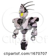 Automaton Containing Grey Alien Style Head And Yellow Eyes And Eyeball Creature Crown And Heavy Upper Chest And Heavy Mech Chest And Unicycle Wheel Sketch Pad Standing Looking Right Restful Pose