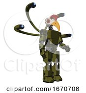 Poster, Art Print Of Robot Containing Bird Skull Head And Red Led Circle Eyes And Chicken Design And Light Chest Exoshielding And Prototype Exoplate Chest And Blue-Eye Cam Cable Tentacles And Prototype Exoplate Legs