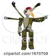 Robot Containing Bird Skull Head And Red Led Circle Eyes And Chicken Design And Light Chest Exoshielding And Prototype Exoplate Chest And Blue Eye Cam Cable Tentacles And Prototype Exoplate Legs