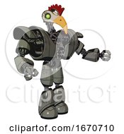 Poster, Art Print Of Cyborg Containing Bird Skull Head And Green Eyes And Chicken Design And Heavy Upper Chest And Heavy Mech Chest And Light Leg Exoshielding Concrete Grey Metal Interacting