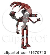Mech Containing Flat Elongated Skull Head And Light Chest Exoshielding And Minigun Back Assembly And No Chest Plating And Ultralight Foot Exosuit Light Brick Red Interacting