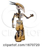 Poster, Art Print Of Android Containing Bird Skull Head And Yellow And Green Scope Eyes And Head Shield Design And Light Chest Exoshielding And No Chest Plating And Light Leg Exoshielding And Stomper Foot Mod