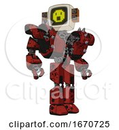 Bot Containing Old Computer Monitor And Yellow Pixel Face Surprised And Old Retro Speakers And Heavy Upper Chest And Heavy Mech Chest And Shoulder Spikes And Prototype Exoplate Legs