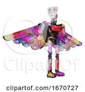 Poster, Art Print Of Android Containing Humanoid Face Mask And War Paint And Light Chest Exoshielding And Ultralight Chest Exosuit And Cherub Wings Design And Ultralight Foot Exosuit Plasma Burst Hero Pose