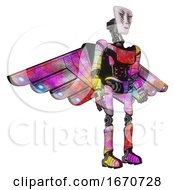 Poster, Art Print Of Android Containing Humanoid Face Mask And War Paint And Light Chest Exoshielding And Ultralight Chest Exosuit And Cherub Wings Design And Ultralight Foot Exosuit Plasma Burst Facing Left View