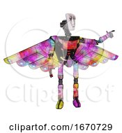 Poster, Art Print Of Android Containing Humanoid Face Mask And War Paint And Light Chest Exoshielding And Ultralight Chest Exosuit And Cherub Wings Design And Ultralight Foot Exosuit Plasma Burst