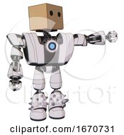 Automaton Containing Dual Retro Camera Head And Cardboard Box Head And Heavy Upper Chest And Heavy Mech Chest And Blue Energy Fission Element Chest And Light Leg Exoshielding And Spike Foot Mod