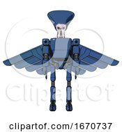 Mech Containing Flat Elongated Skull Head And Light Chest Exoshielding And Prototype Exoplate Chest And Pilots Wings Assembly And Ultralight Foot Exosuit Blue Halftone Front View
