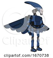 Mech Containing Flat Elongated Skull Head And Light Chest Exoshielding And Prototype Exoplate Chest And Pilots Wings Assembly And Ultralight Foot Exosuit Blue Halftone Facing Left View