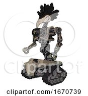 Cyborg Containing Bird Skull Head And White Eyeballs And Crow Feather Design And Heavy Upper Chest And No Chest Plating And Tank Tracks Grungy Fiberglass Facing Right View