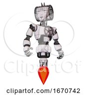 Bot Containing Humanoid Face Mask And Spiral Design And Light Chest Exoshielding And Chest Valve Crank And Jet Propulsion White Halftone Toon Hero Pose