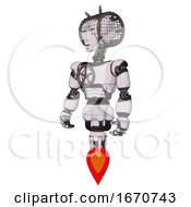 Bot Containing Humanoid Face Mask And Spiral Design And Light Chest Exoshielding And Chest Valve Crank And Jet Propulsion White Halftone Toon Standing Looking Right Restful Pose
