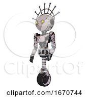 Automaton Containing Oval Wide Head And Yellow Eyes And Techno Halo Ornament And Light Chest Exoshielding And Ultralight Chest Exosuit And Unicycle Wheel Grunge Sketch Dots Facing Right View