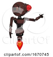 Bot Containing Round Head And Red Laser Crystal Array And Head Light Gadgets And Light Chest Exoshielding And Ultralight Chest Exosuit And Jet Propulsion Steampunk Copper
