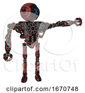 Robot Containing Digital Display Head And X Face And Heavy Upper Chest And No Chest Plating And Ultralight Foot Exosuit Grunge Matted Orange Pointing Left Or Pushing A Button