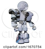 Droid Containing Dots Array Face And Heavy Upper Chest And Heavy Mech Chest And Light Leg Exoshielding And Megneto Hovers Foot Mod Blue Tint Toon Facing Left View