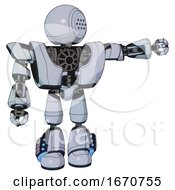 Droid Containing Dots Array Face And Heavy Upper Chest And Heavy Mech Chest And Light Leg Exoshielding And Megneto Hovers Foot Mod Blue Tint Toon Pointing Left Or Pushing A Button